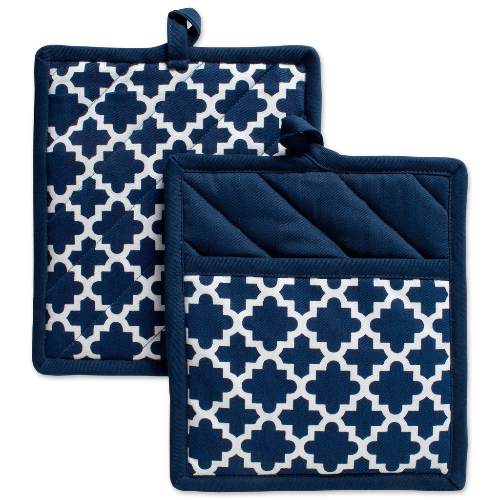 Nautical Blue Lattice Potholder Set/2