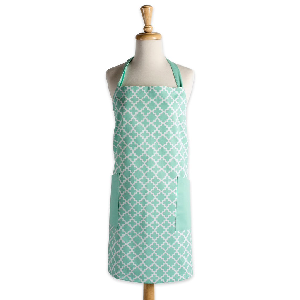 Aqua Lattice Print 2-Pocket Apron