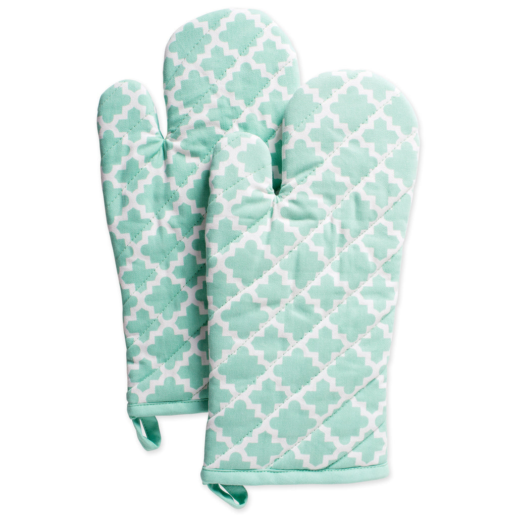 Aqua Lattice Oven Mitt Set/2