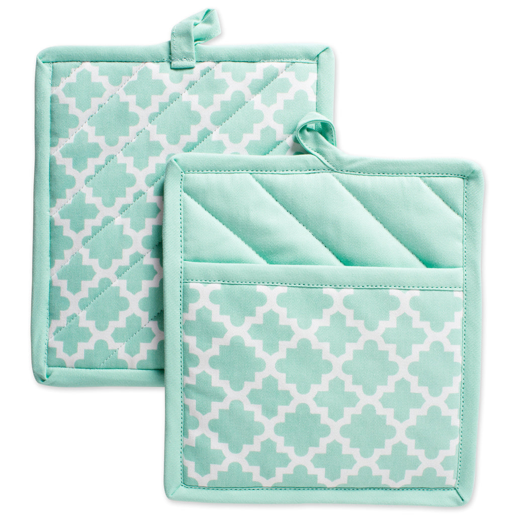 Aqua Lattice Potholder Set/2