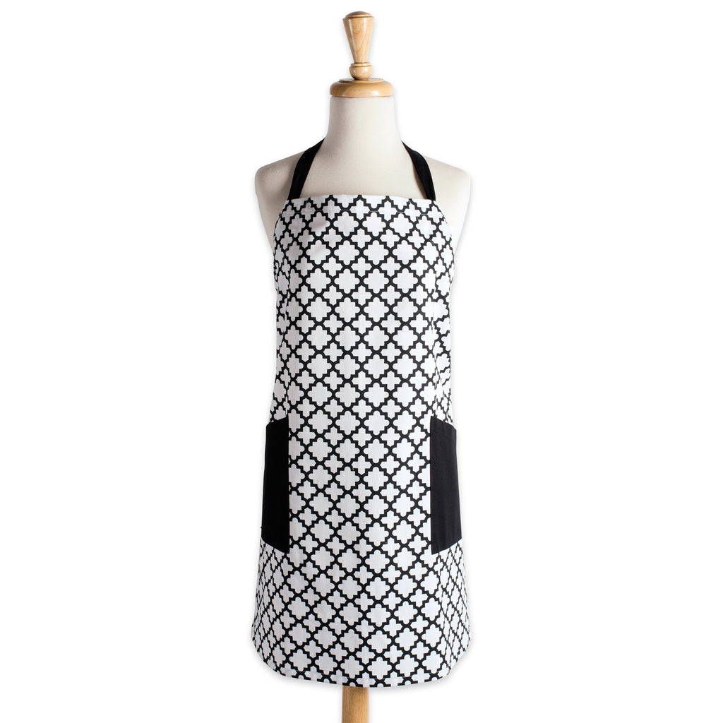 White Lattice Print 2-Pocket Apron