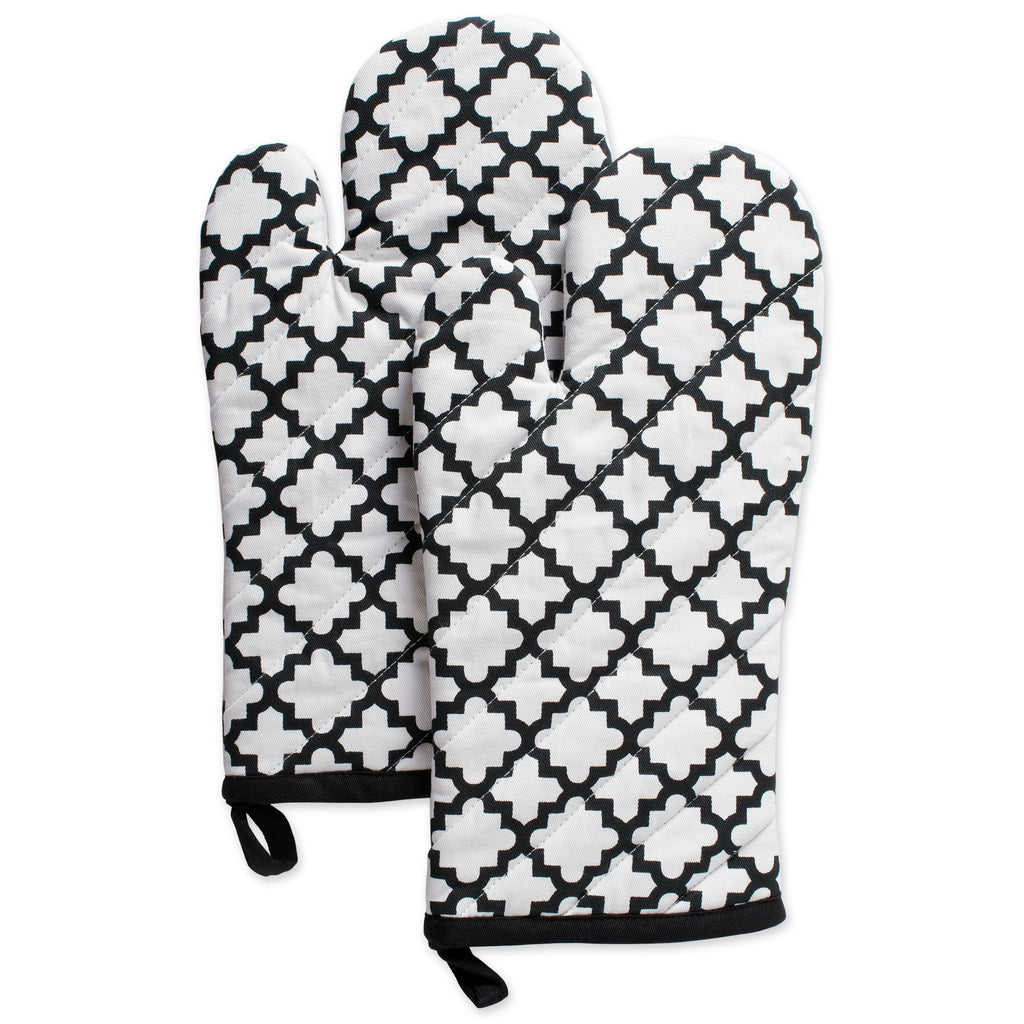 White Lattice Oven Mitt Set/2