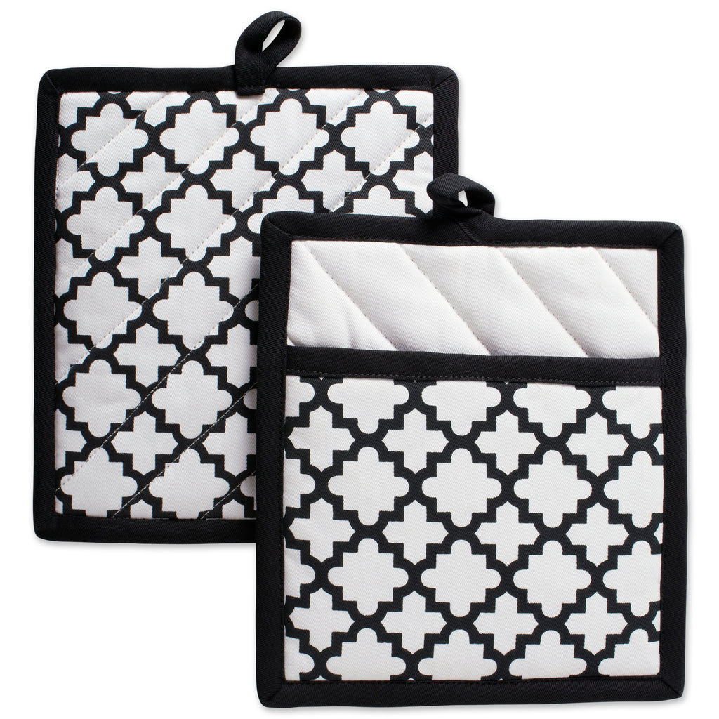 White Lattice Potholder Set/2