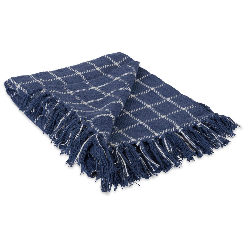 French Blue Checked Plaid Throw