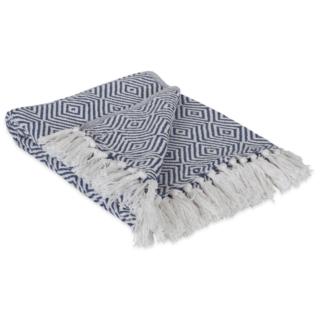 French  Blue X-Diamond Geometric Throw