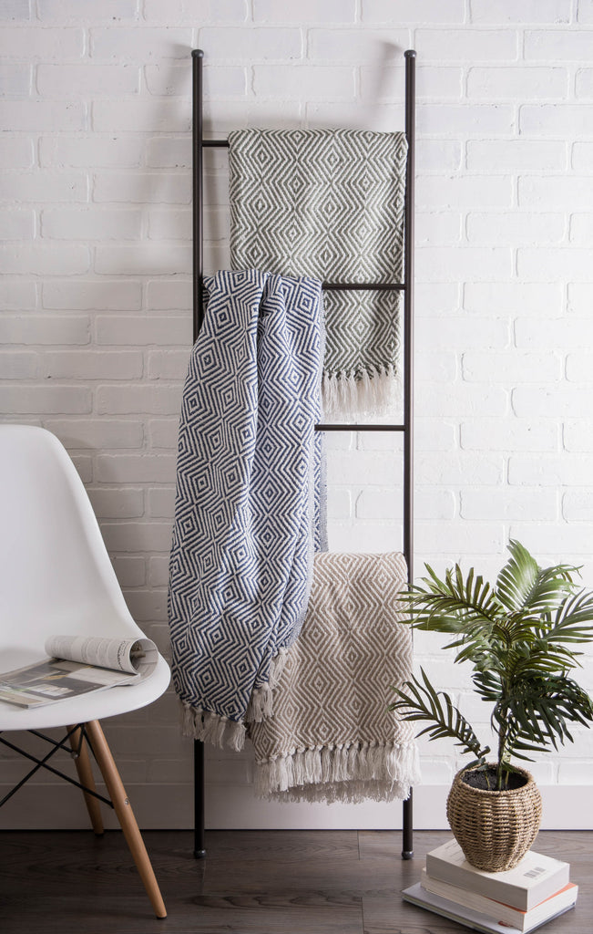 DII French Blue X-Diamond Geometric Throw