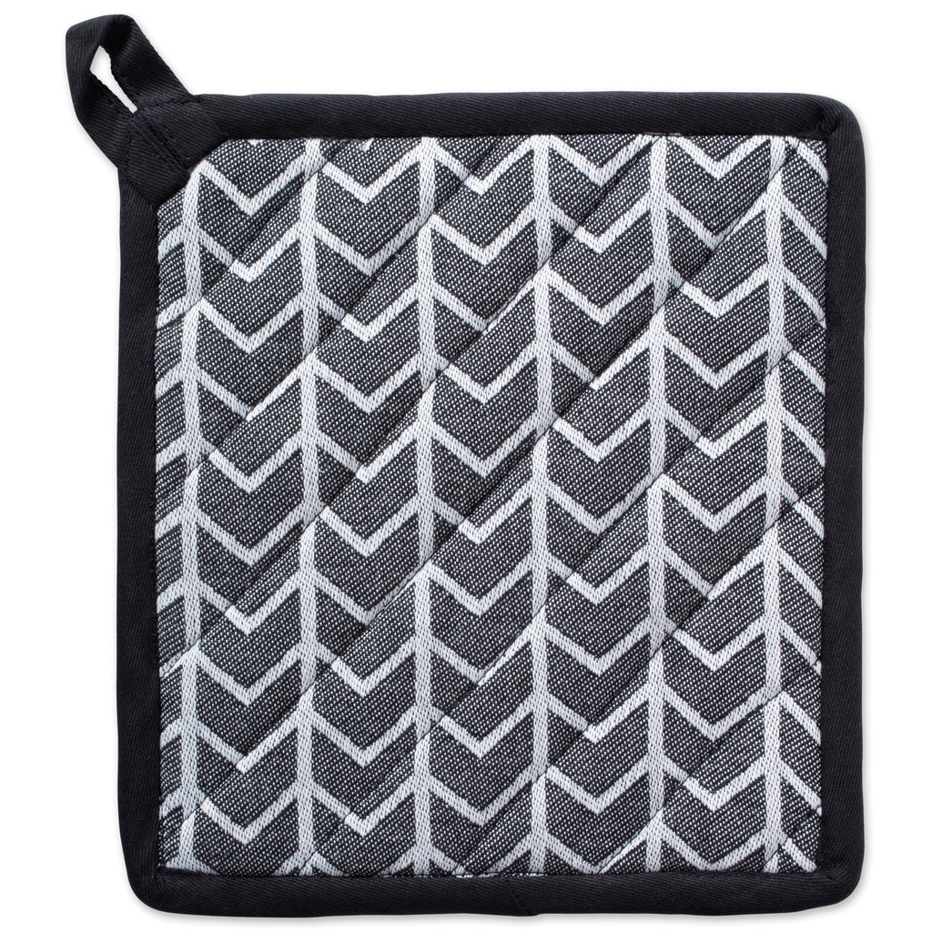 DII Black & White Herringbone Potholder (Set of 2)