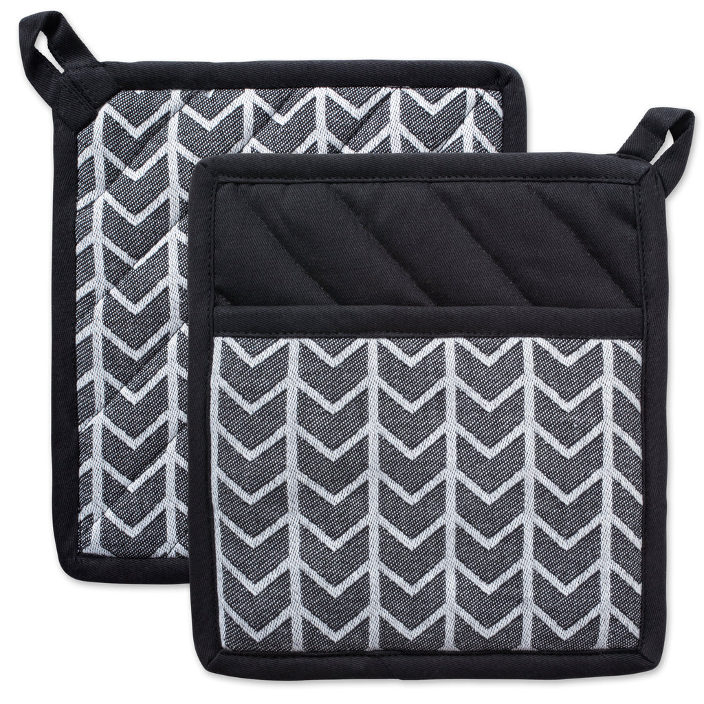 Black & White Herringbone Potholder Set/2