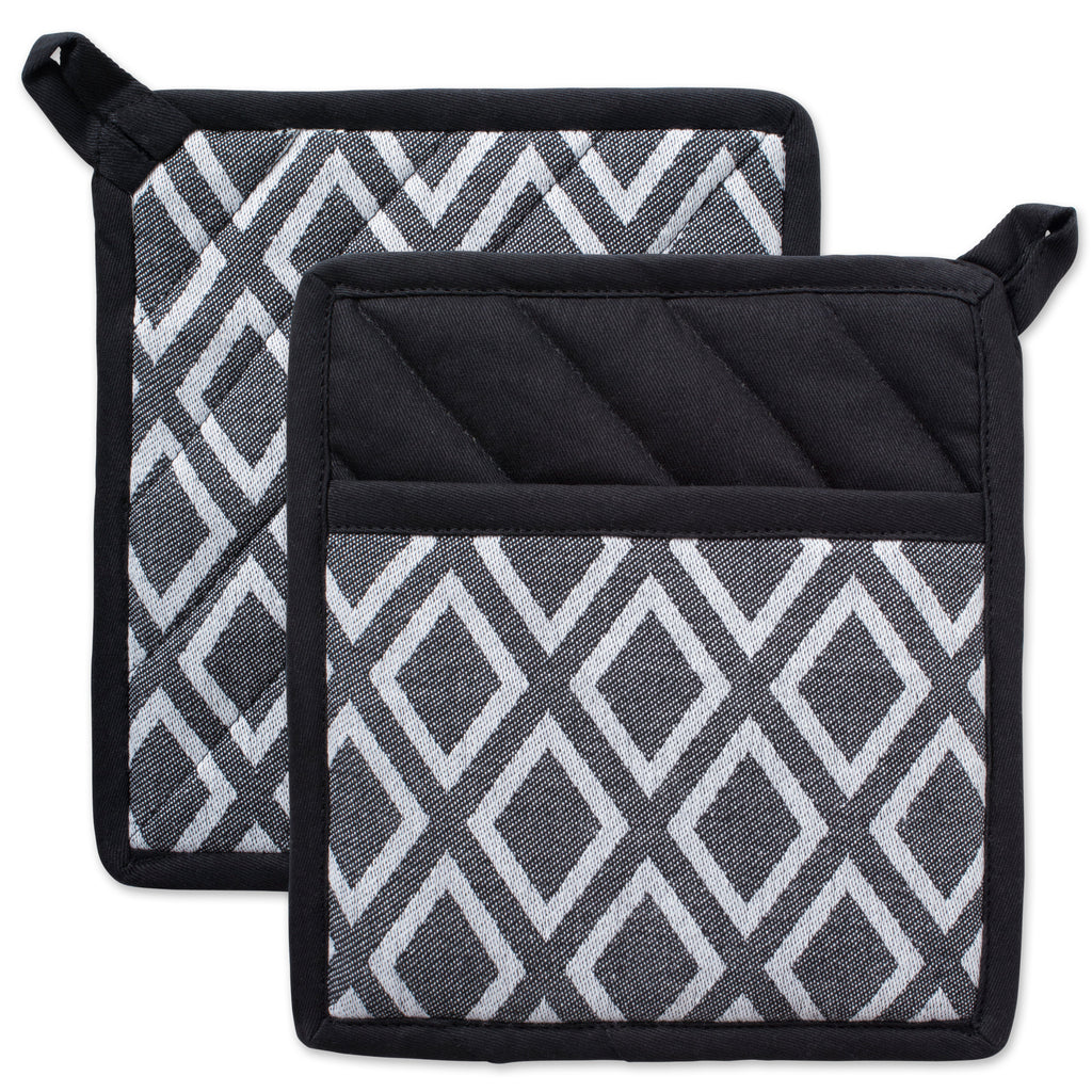 Black & White Diamond Potholder Set/2