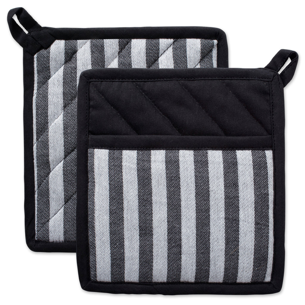 Black & White Stripe Potholder Set/2