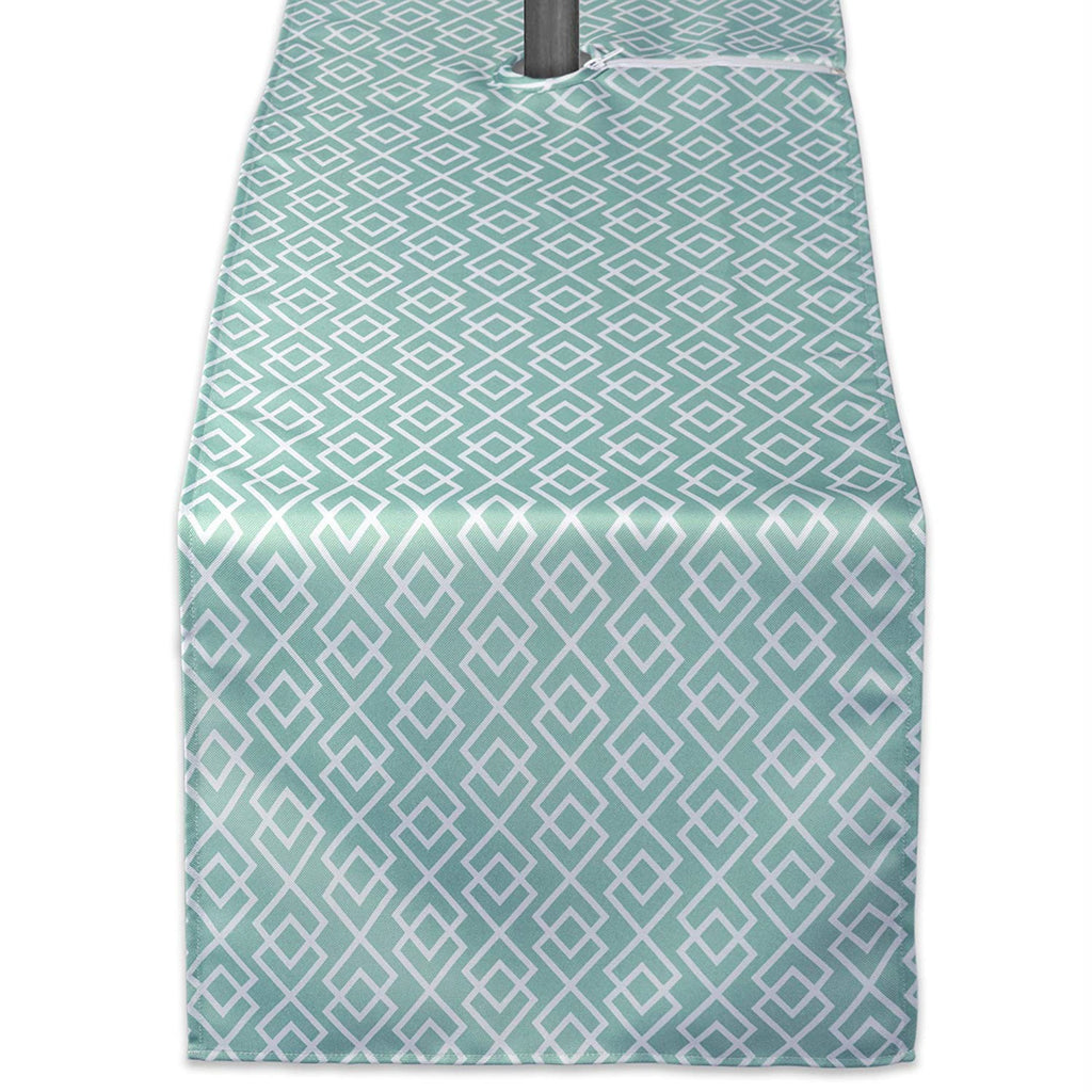 Aqua Diamond Outdoor Table Runner With Zipper 14x108