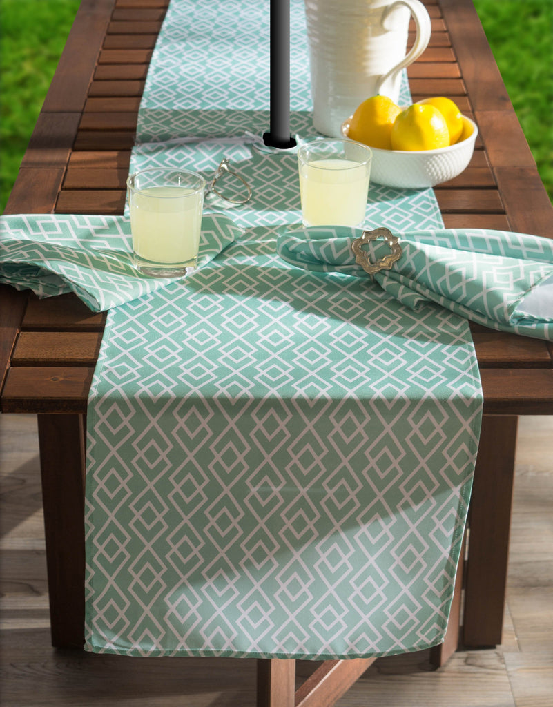 DII Aqua Diamond Outdoor Table Runner With Zipper