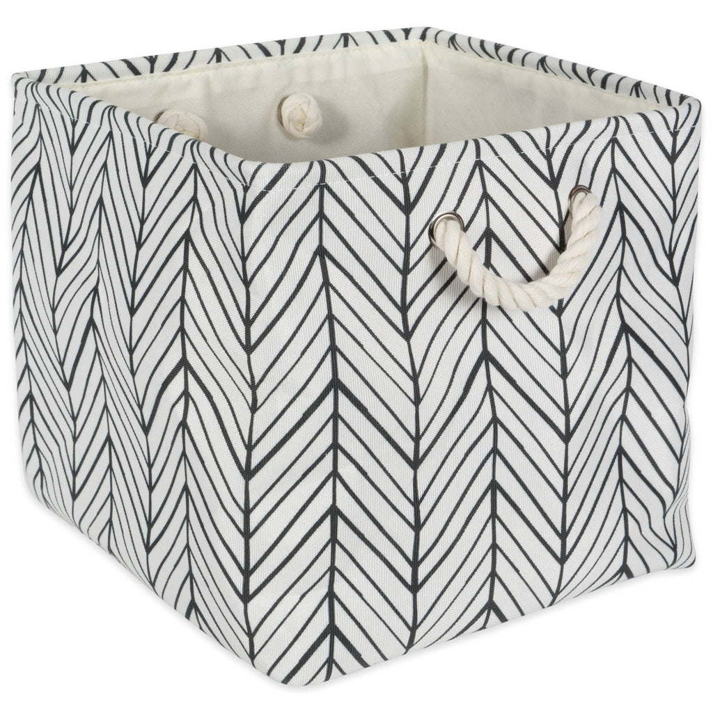 Polyester Bin Herringbone Off White Square 11x11x11