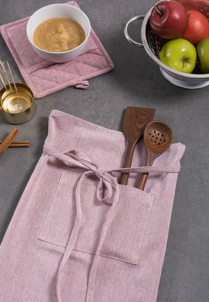 DII Barn Red Solid Chambray Bistro Apron