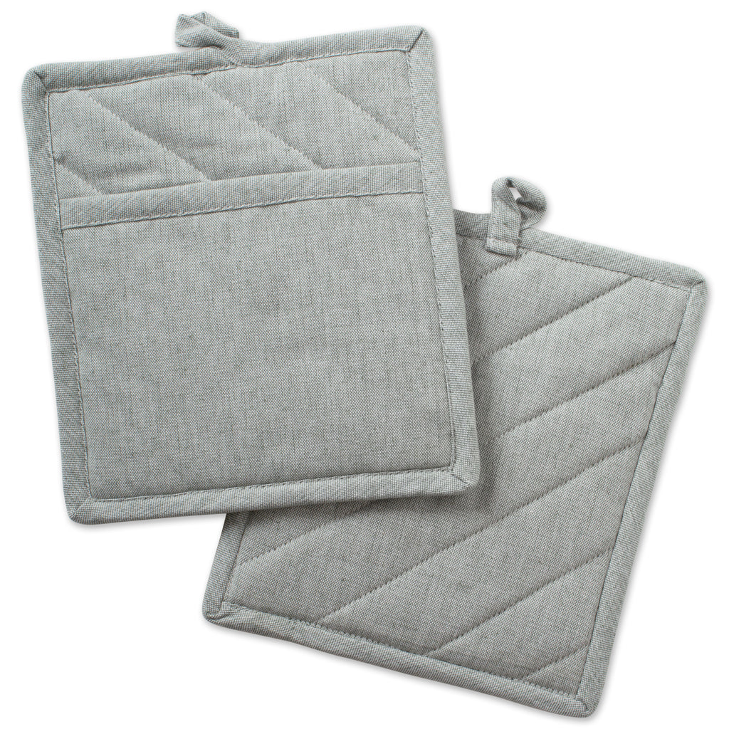 Artichoke Solid Chambray Potholder Set/2