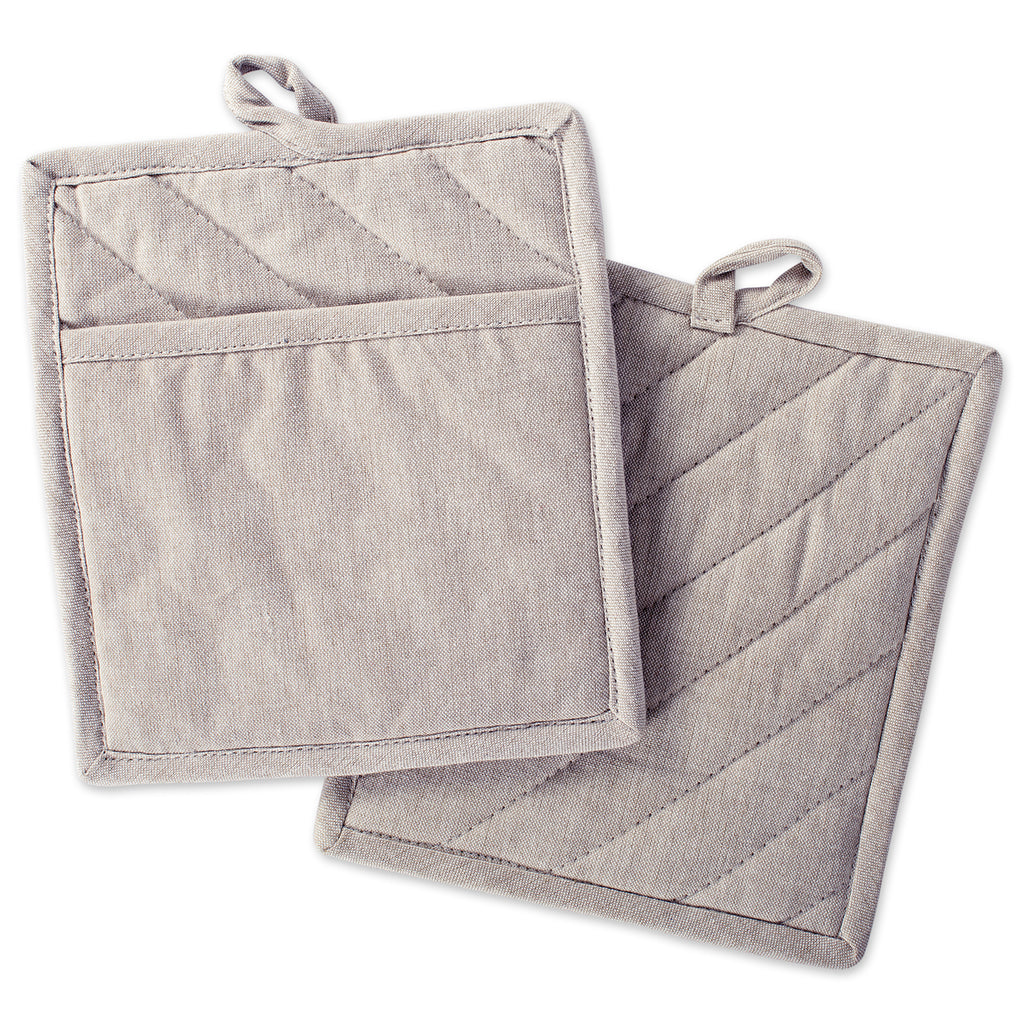 Stone Brown Solid Chambray Potholder Set/2