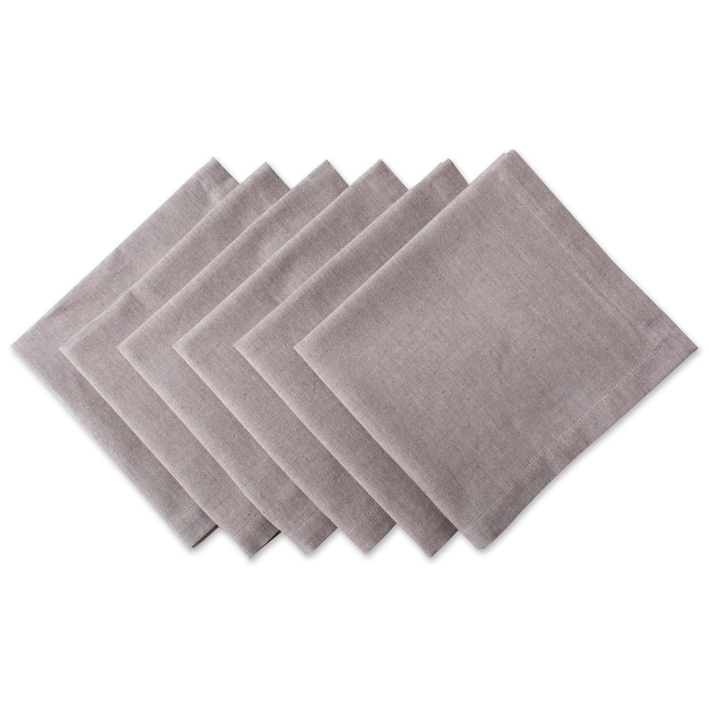 Stone Brown Solid Chambray Napkin Set/6