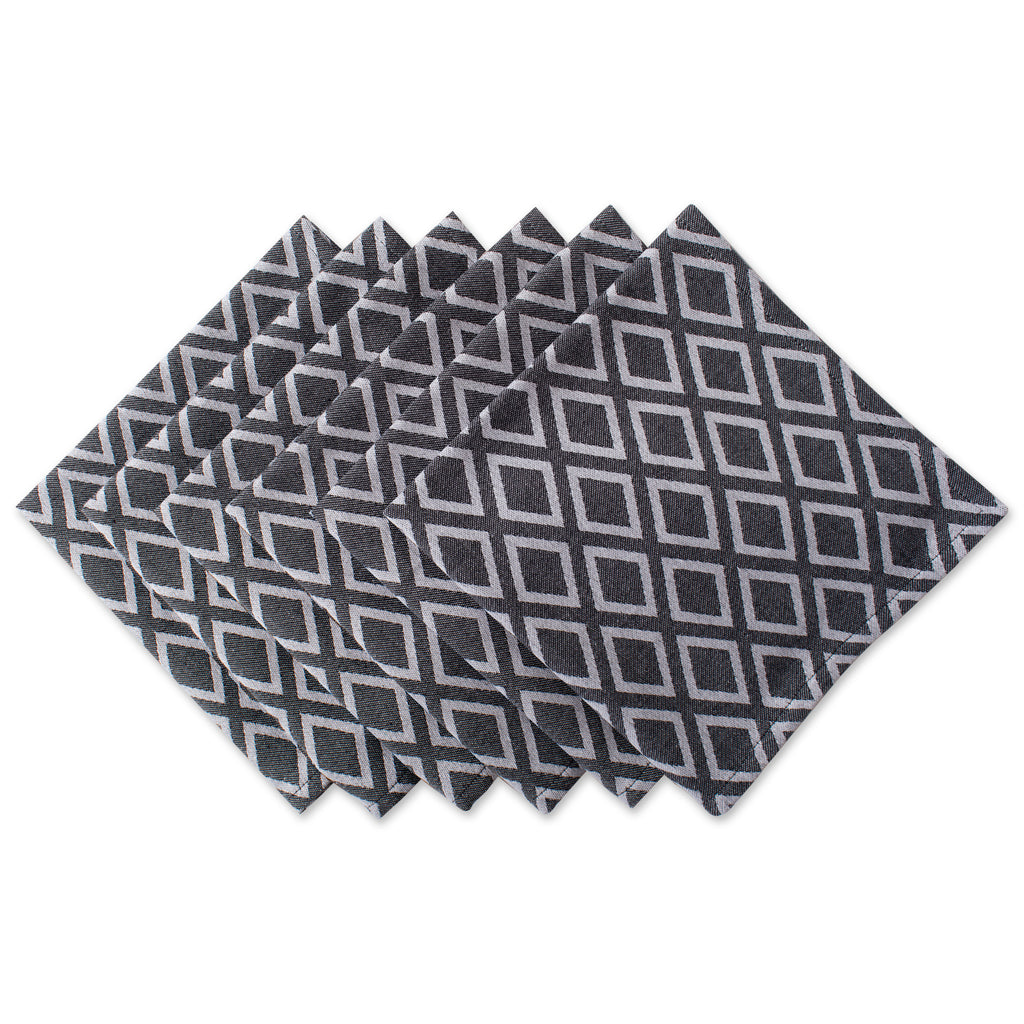 Black & White Diamond Napkin Set/6