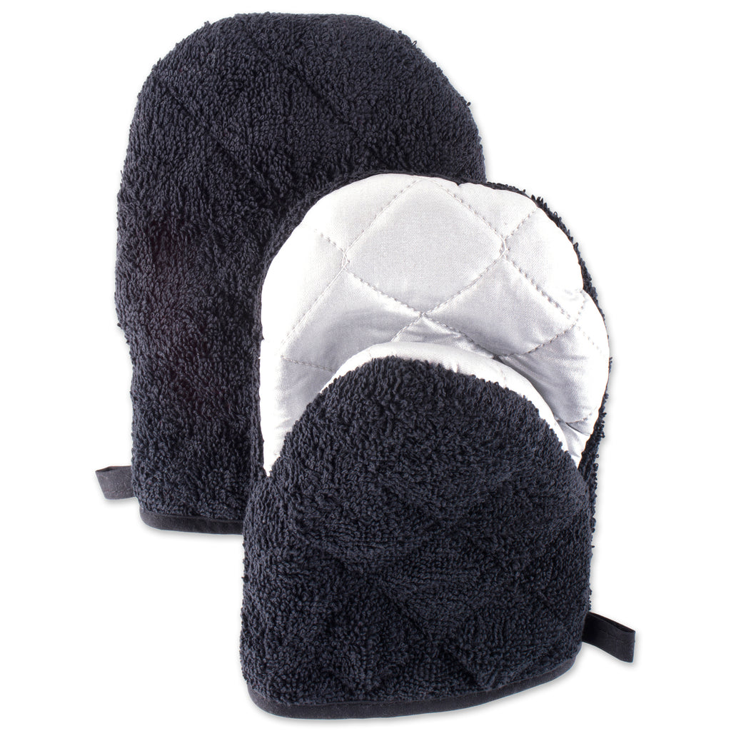 Black Short Oven Mitt Set/2
