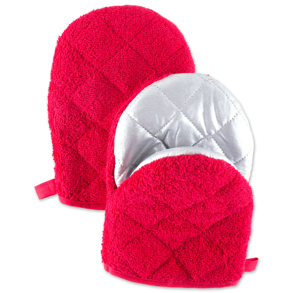 Red Short Oven Mitt Set/2