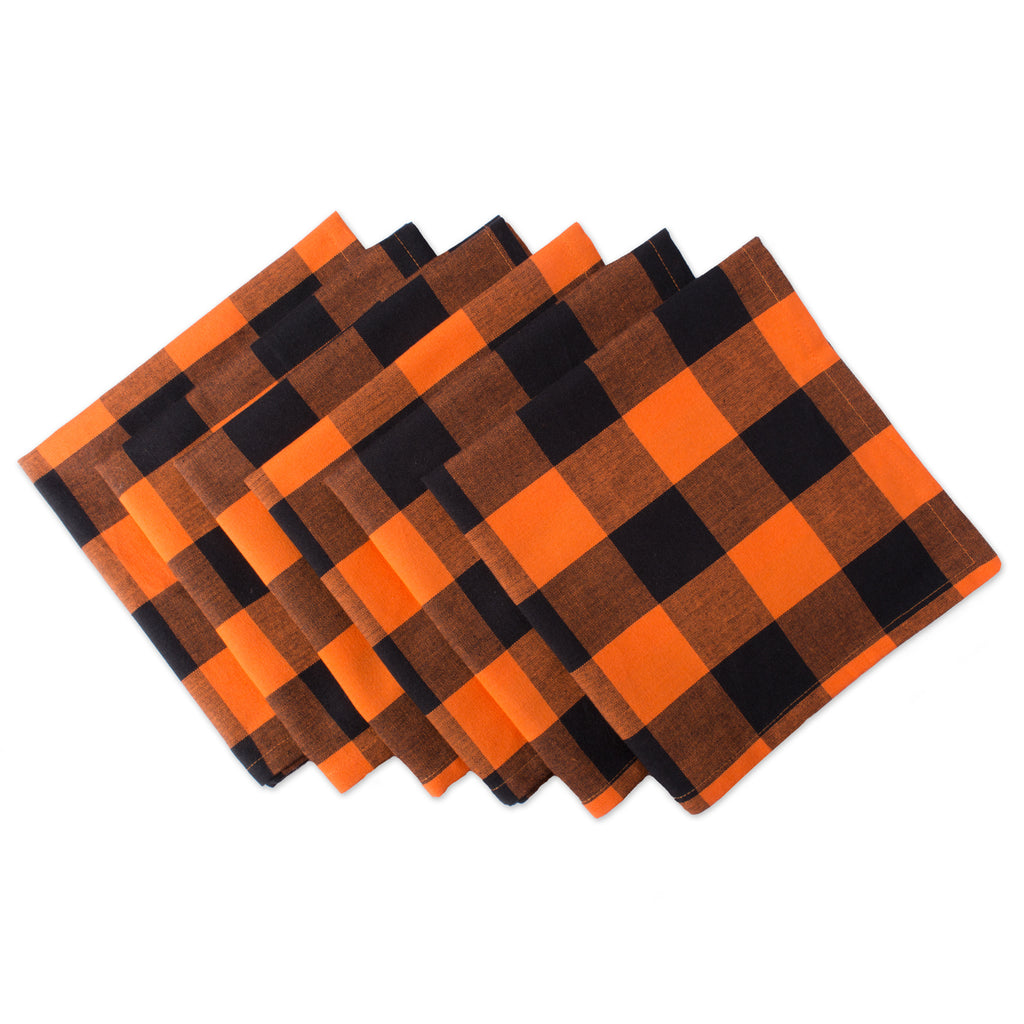 Orange Buffalo Check Napkin Set/6