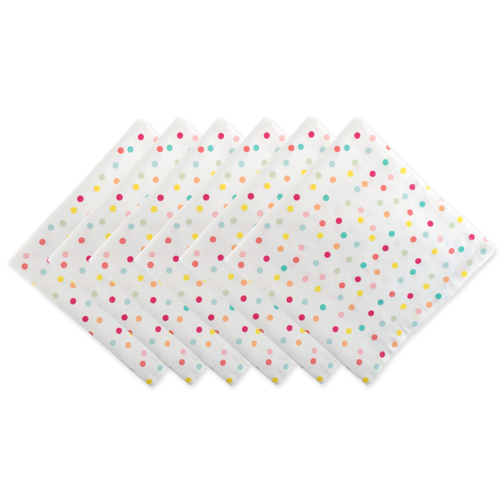 Multi Polka Dots Print Napkin Set/6