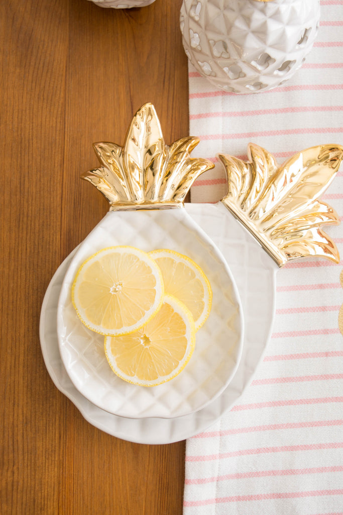 DII Gold Pineapple Plate Large (Set of 2)