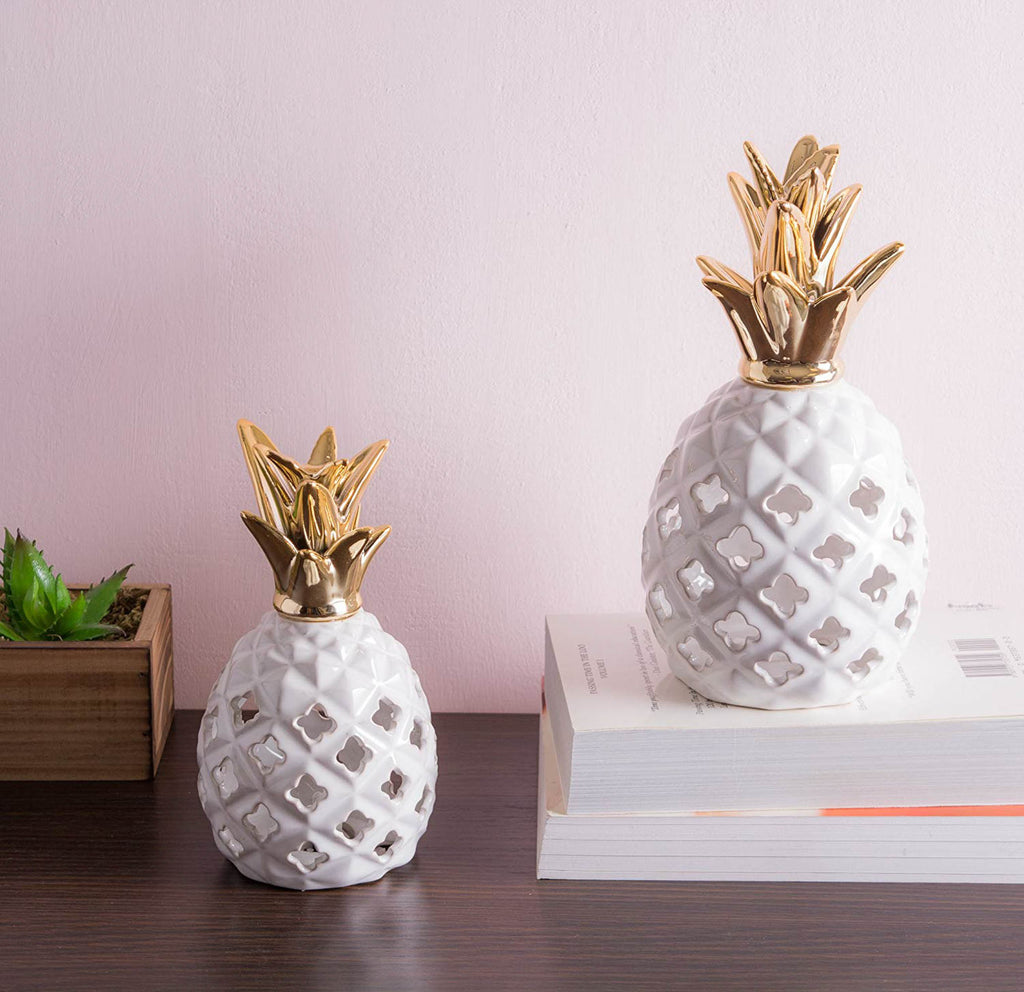 DII Gold Pineapple Led Lantern Small (Set of 2)