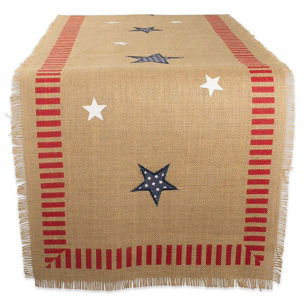 4th Of July Jute Table Runner 14x74