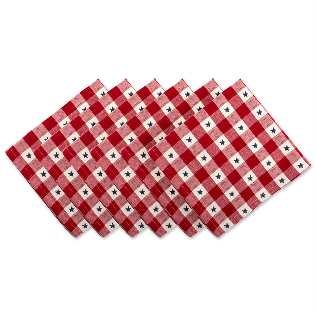 Star Check Napkin Set/6