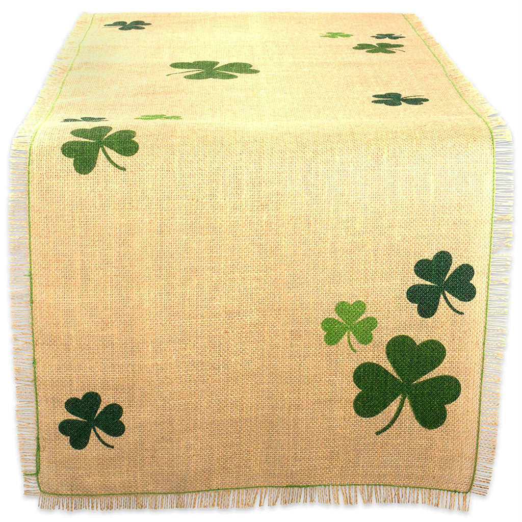 Shamrock Printed Jute Table Runner 14x74