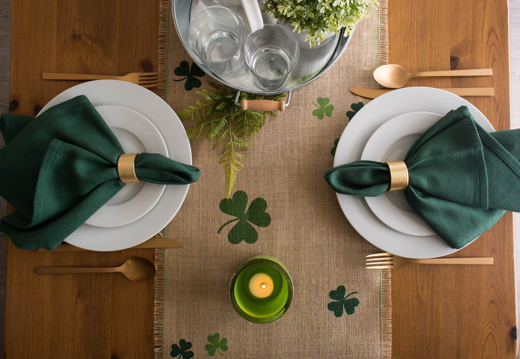 DII Shamrock Printed Jute Table Runner, 14x74""