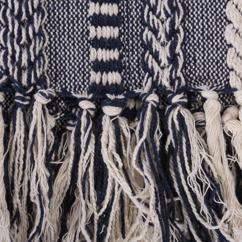 DII Navy Braided Stripe Throw