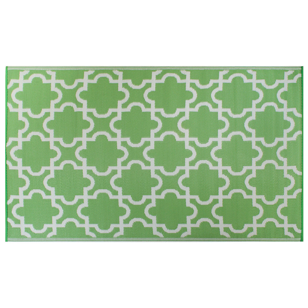 Bright Green Lattice Outdoor Rug 4x6 Ft