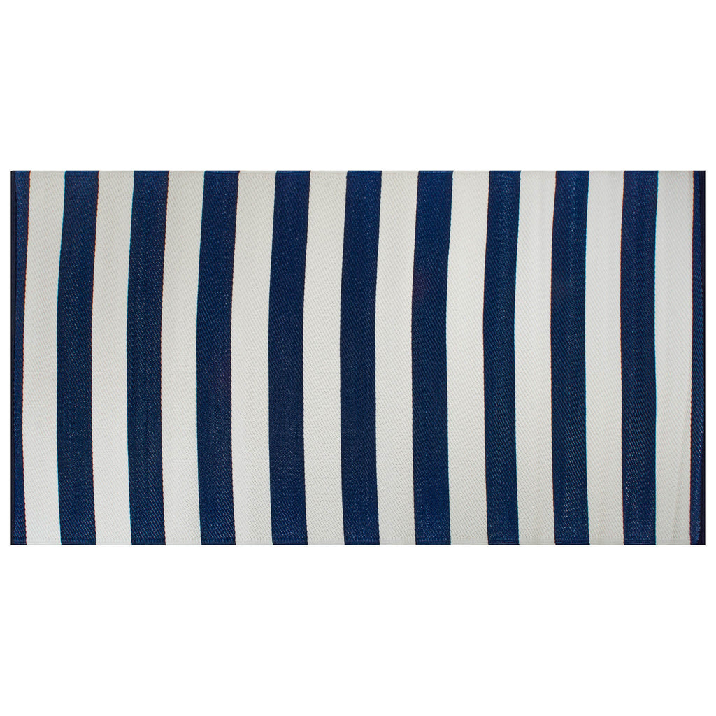 Navy/White Stripe Outdoor Rug 4x6 Ft