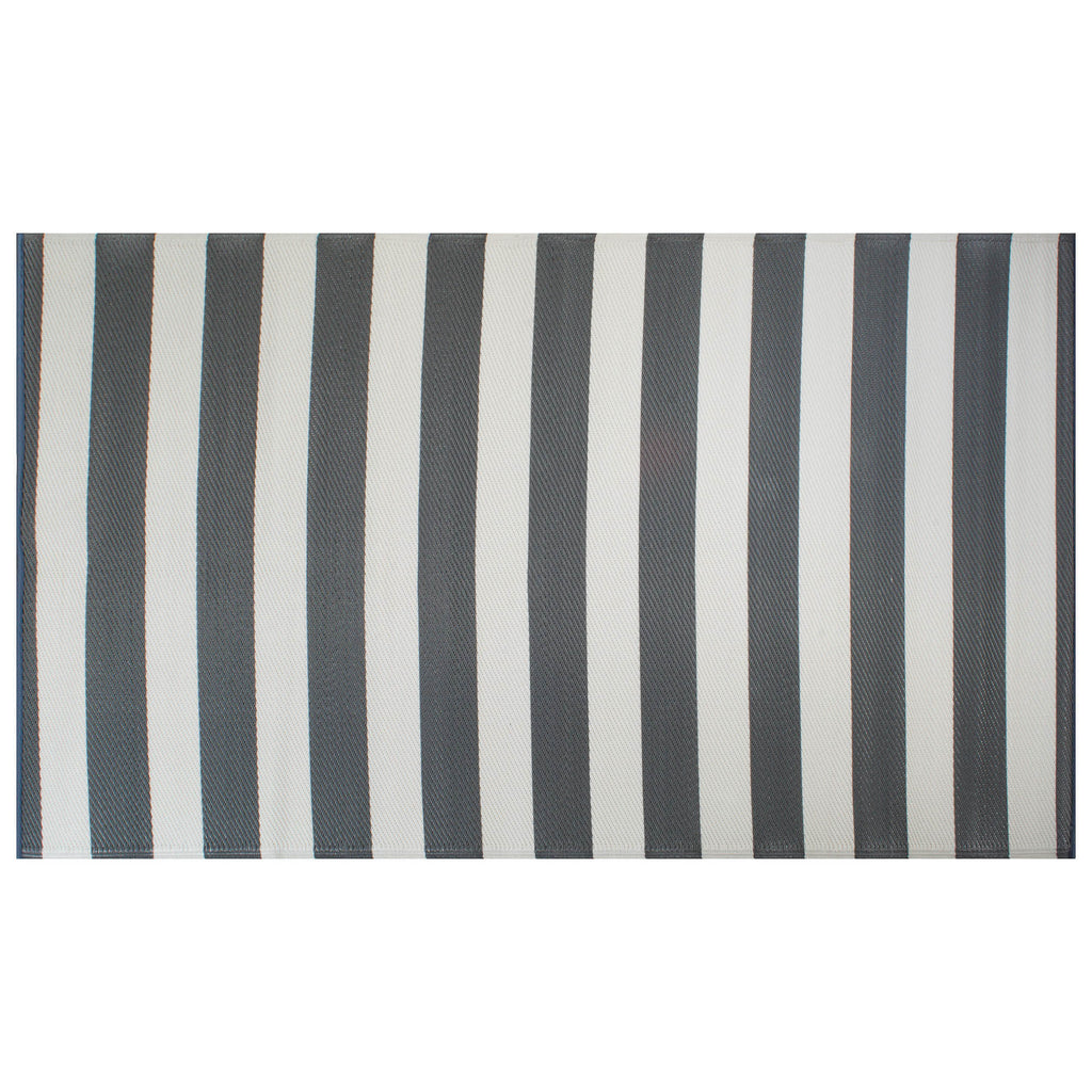 Gray/White Stripe Outdoor Rug 4x6 Ft