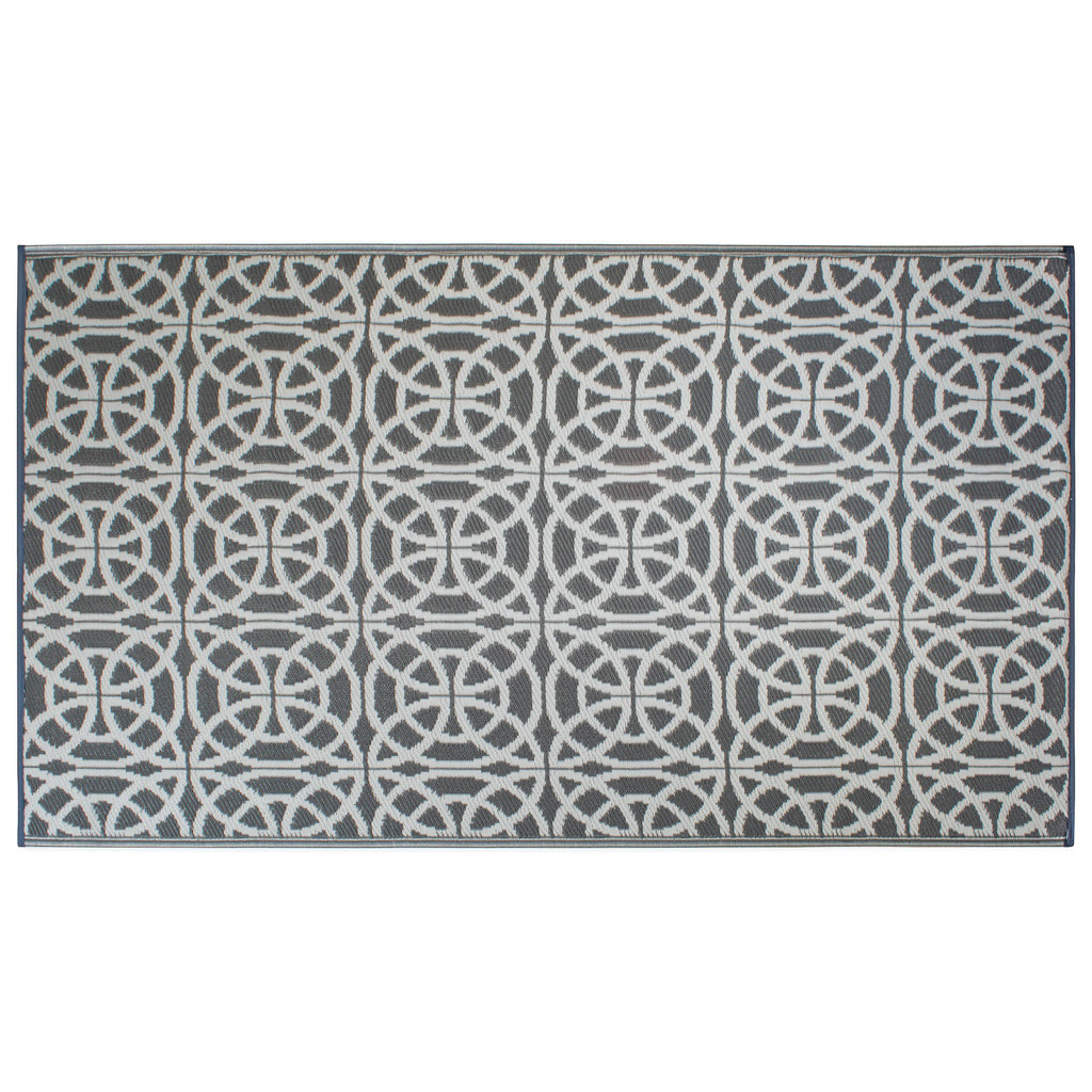 Gray Infinity Circle Outdoor Rug 4x6 Ft