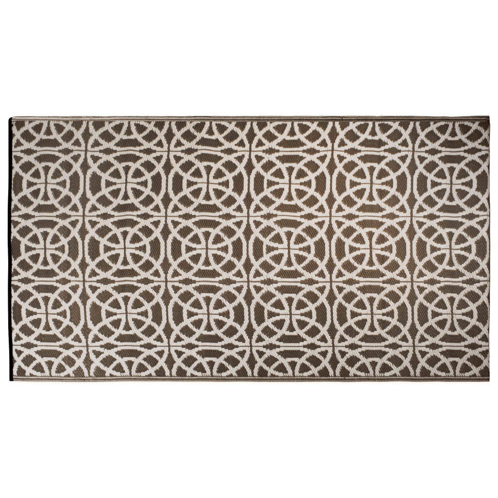 Dark Brown Infinity Circle Outdoor Rug 4x6 Ft