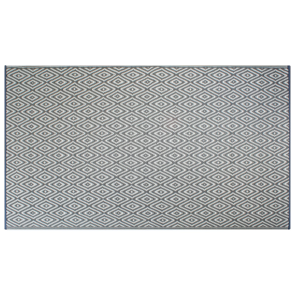 Gray Diamond Outdoor Rug 4x6 Ft