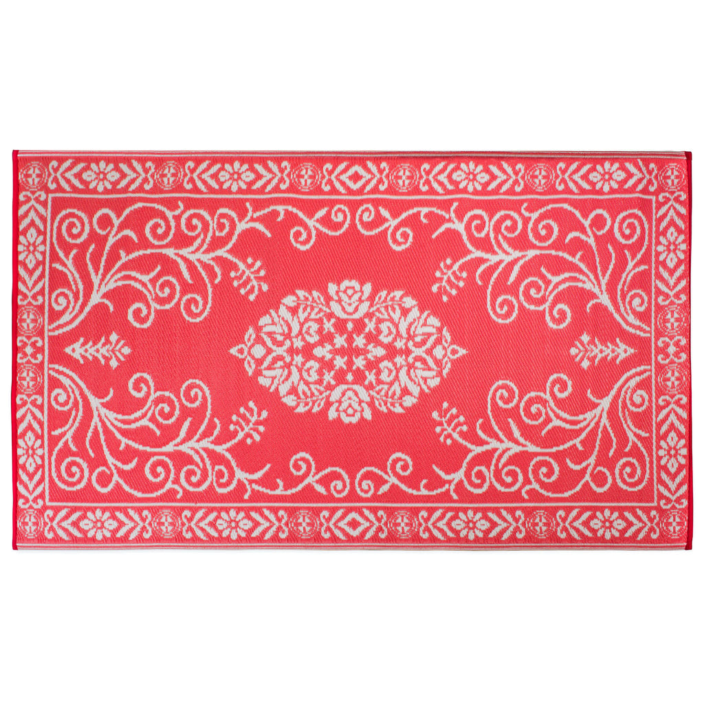Coral Garden Floral Outdoor Rug 4x6 Ft