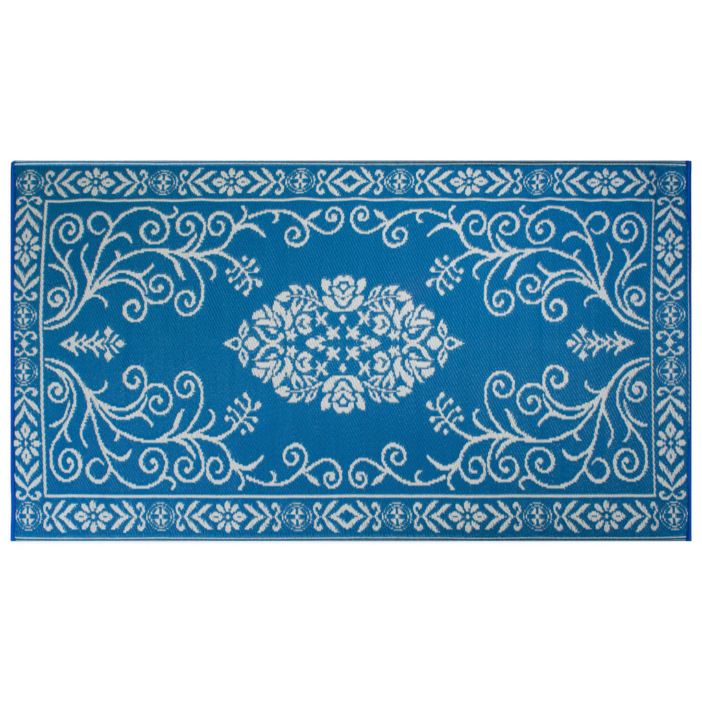 Blue Garden Floral Outdoor Rug 4x6 Ft