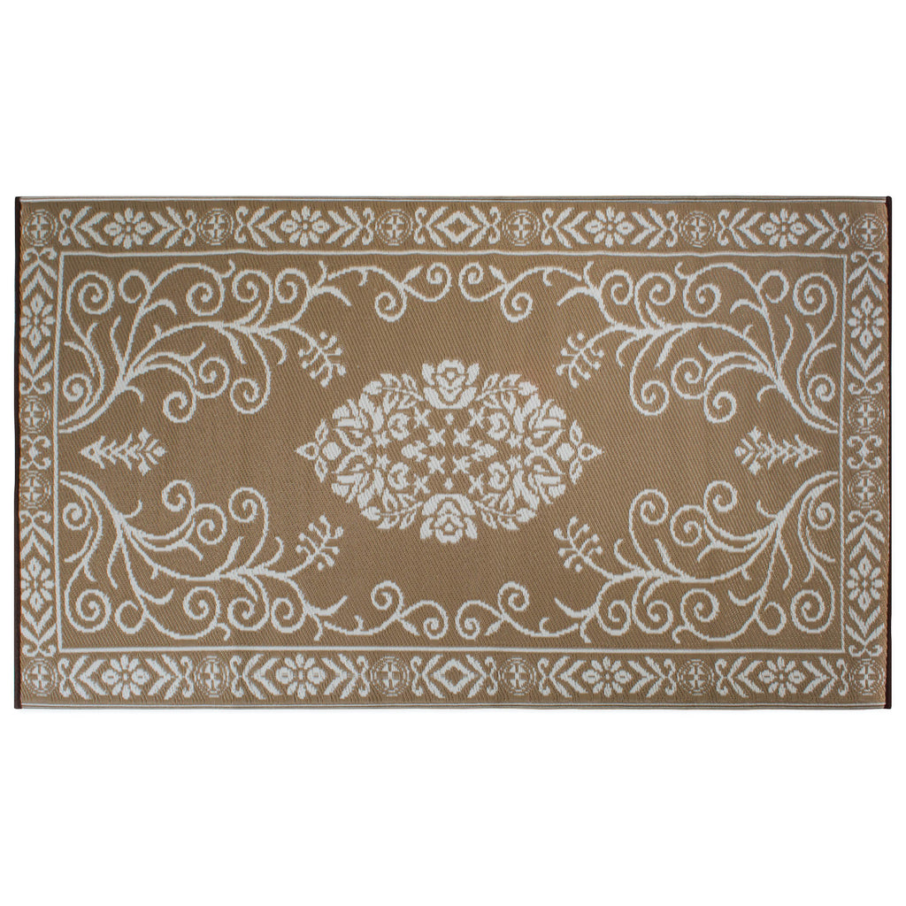 Taupe Garden Floral Outdoor Rug 4x6 Ft