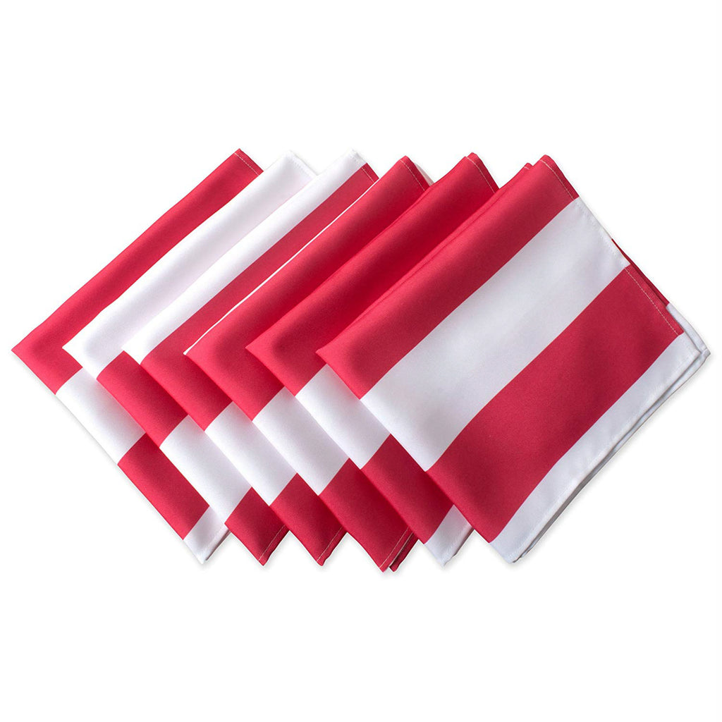 Coral Cabana Stripe Print Outdoor Napkin Set/6