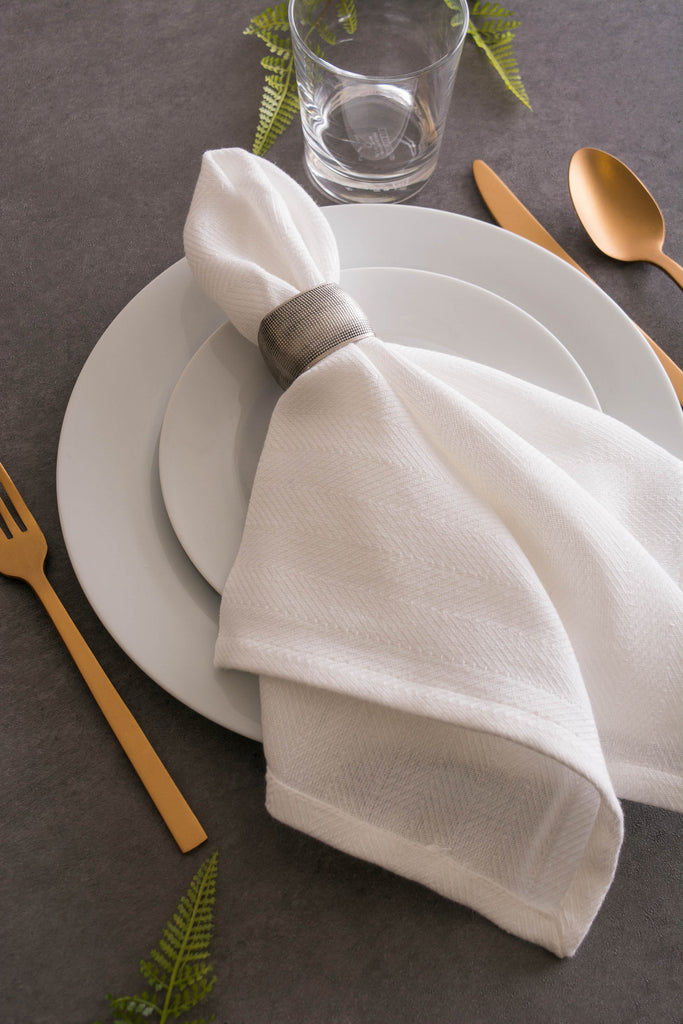 DII White Herringbone Basic Napkin (Set of 6)