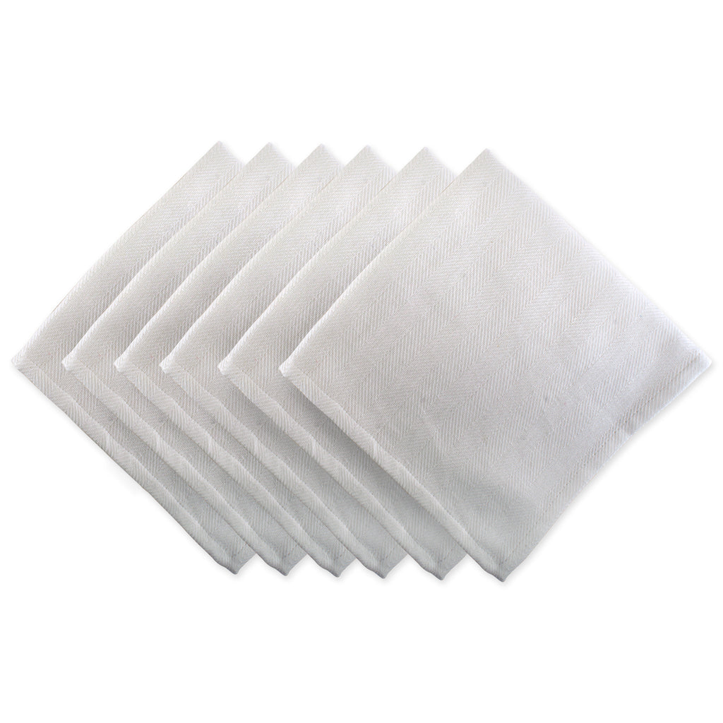 White Herringbone Basic Napkin Set/6