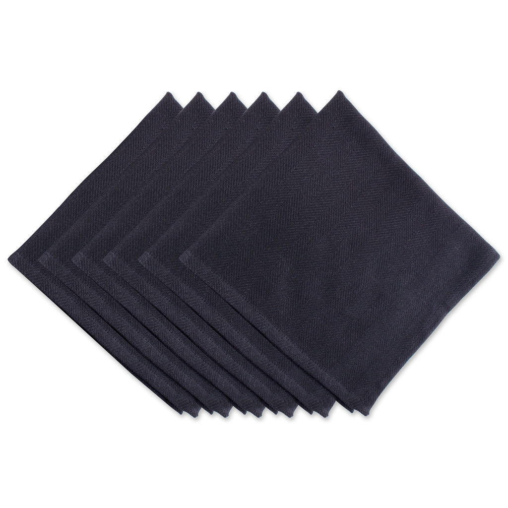 Black Herringbone Basic Napkin Set/6