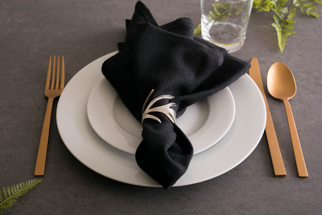 DII Black Herringbone Basic Napkin (Set of 6)