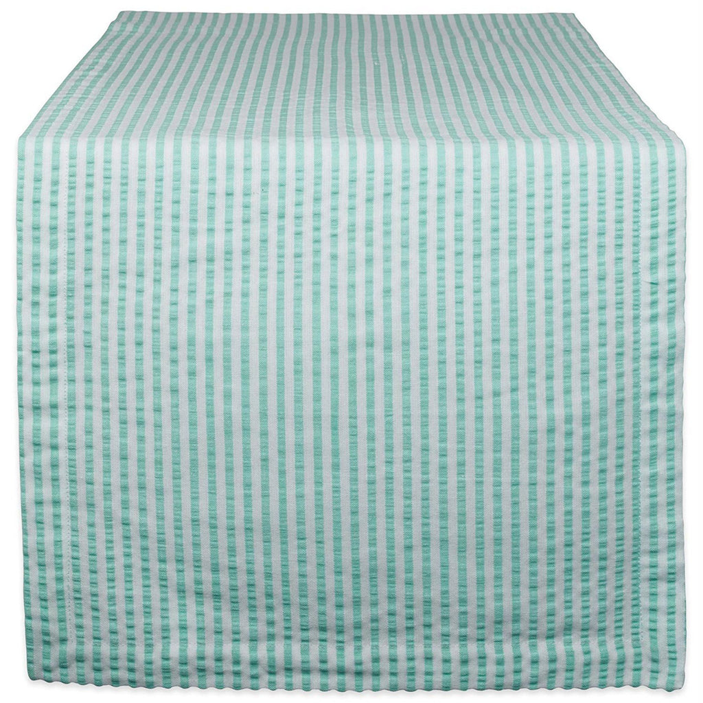 Aqua Seersucker Table Runner 14x108
