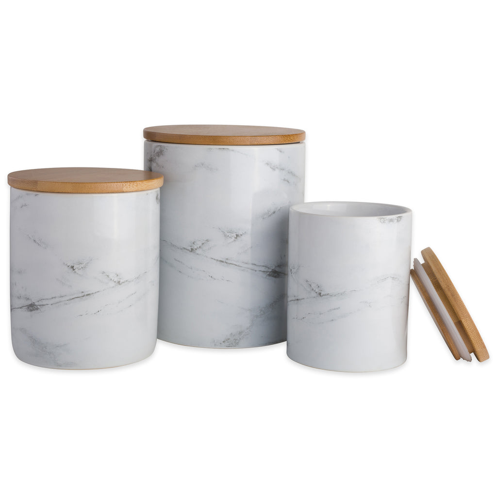 White Marble Ceramic Canister Set/3