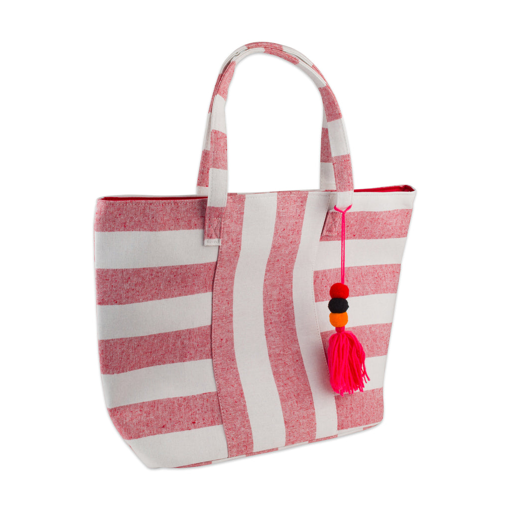 Red Boho Stripe Beach Bag